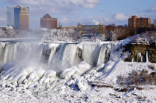 frozen niagra falls, ice, cold, winter, freeze