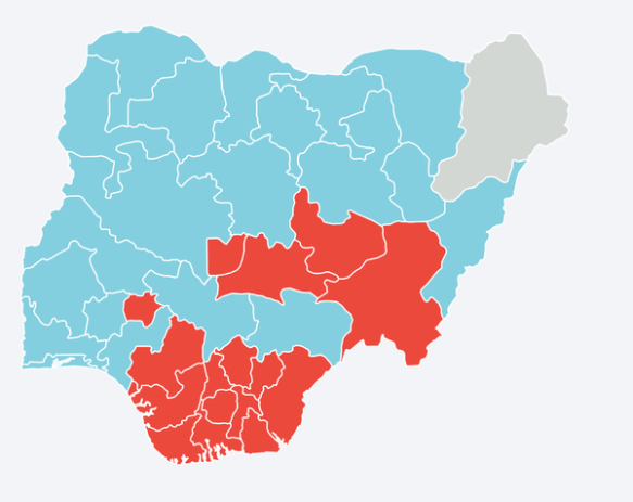 Nigeria election results by geography